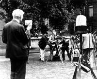 Paul Wyand filming Prime Minister Ramsay MacDonald for British Movietone News, June 1929
