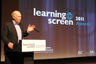 Michael Cockerell presenting the 2011 Learning on Screen Awards