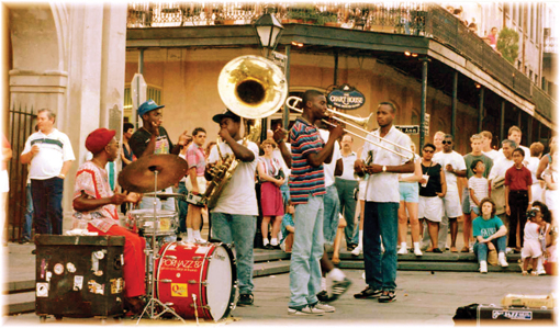 Street musicians, May 1989, New Orleans,  photographed by Brenda Anderson. (Photo © Brenda Anderson)