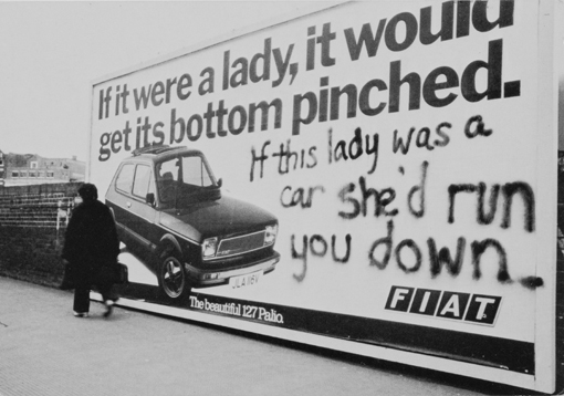 'If this lady was a car' photograph © Jill Posener (courtesy of the British Library)