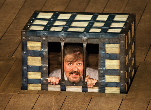 Stephen Fry as Malvolio in Shakespeare's Globe production of Twelfth Night in 2012 (image: Simon Annand).