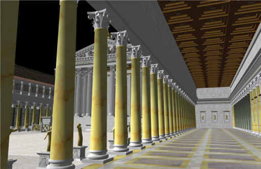 Forum Augustum inside portico The emperor Augustus built this splendid Forum to celebrate his new regime's power, wealth, and lineage. The colourful marbles used came from across Rome's expanding empire (image © Dr Matthew Nicholls)