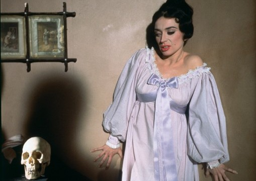 April Olrich and the skull of the Marquis de Sade strike a pose in The Skull (1965), available on Blu-ray and DVD from 26 October 2015 from Eureka Entertainment.