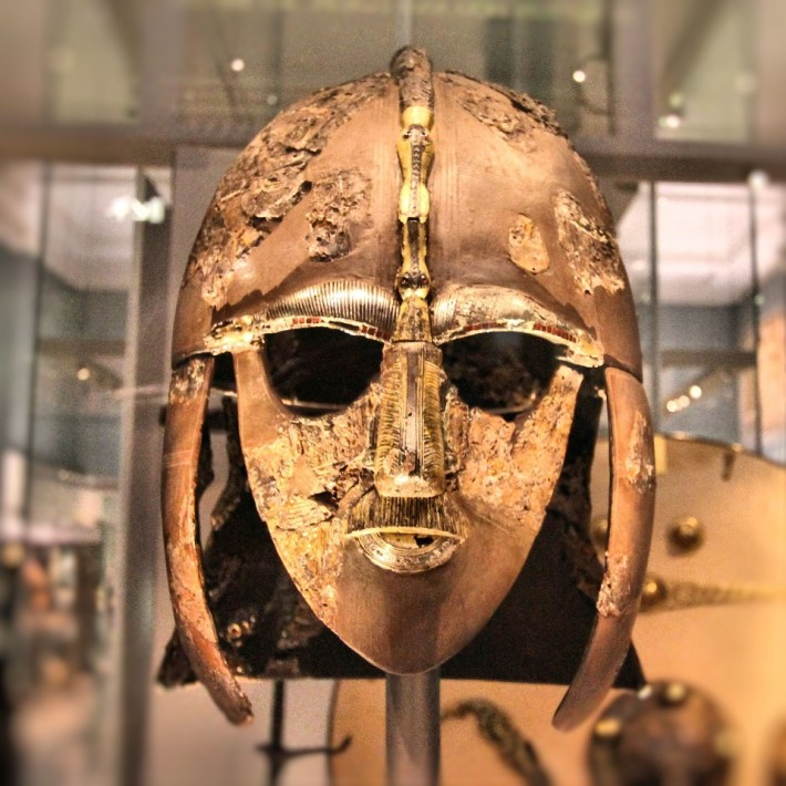 The Sutton Hoo helmet, discovered during the 1939 excavation of the Sutton Hoo ship burial.
